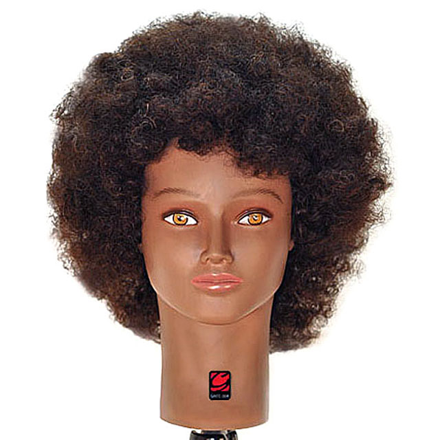 """Jordan 16"""" Afro Style Black 100% Human Hair Cosmetology Mannequin Head by Giell"""