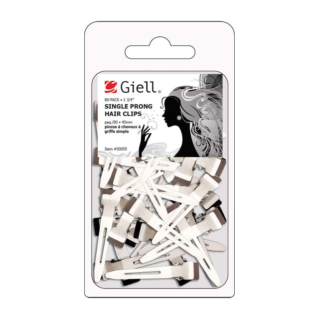 """80-pk 1-3/4"""" Single Prong Metal Hair Clips by Giell"""
