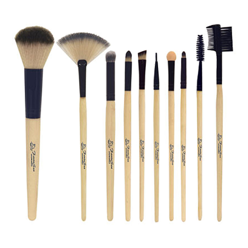 Professional Cosmetic Makeup Brush Set - 10 Assorted Bamboo Brushes