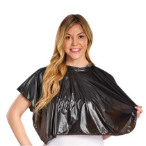 "Image 1 - 26"" X 30"" Vinyl Comb-Out Cape with Tie String Neck Closure - Black"