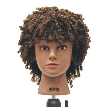 "Image 1 - Alicia 16"" Afro Style 100% Human Hair Cosmetology Mannequin Head by Celebrity"