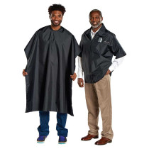 Image 1 - Barber Jacket & Cutting Cape Set - Polyester Black