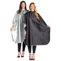 "Image 1 - Reversible Chemical Safe 60"" x 44"" Styling Cape Silver / Black"