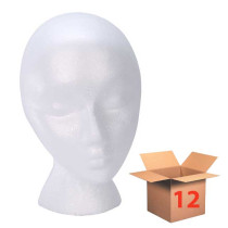 "Image 1 - 1 Dozen Foam Wig Head Standard Female Form 10"" White at Giell.com"