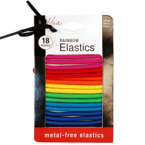 Image 1 - 18 pcs Rainbow Hair Elastics - Metal Free by Mia at Giell.com