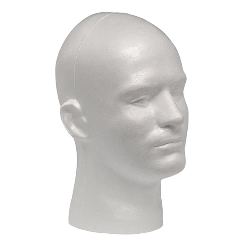 Image 1 - EPS Foam Male Mannequin Head Form for Display - White at Giell.com