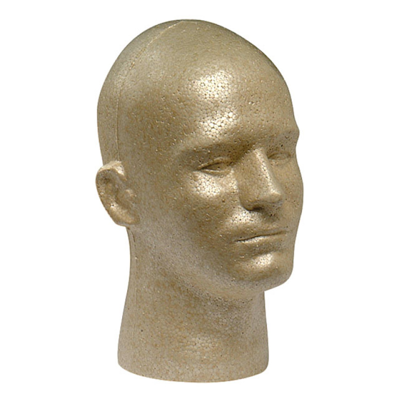 Image 1 - EPS Foam Male Mannequin Head Form for Display - Tan at Giell.com