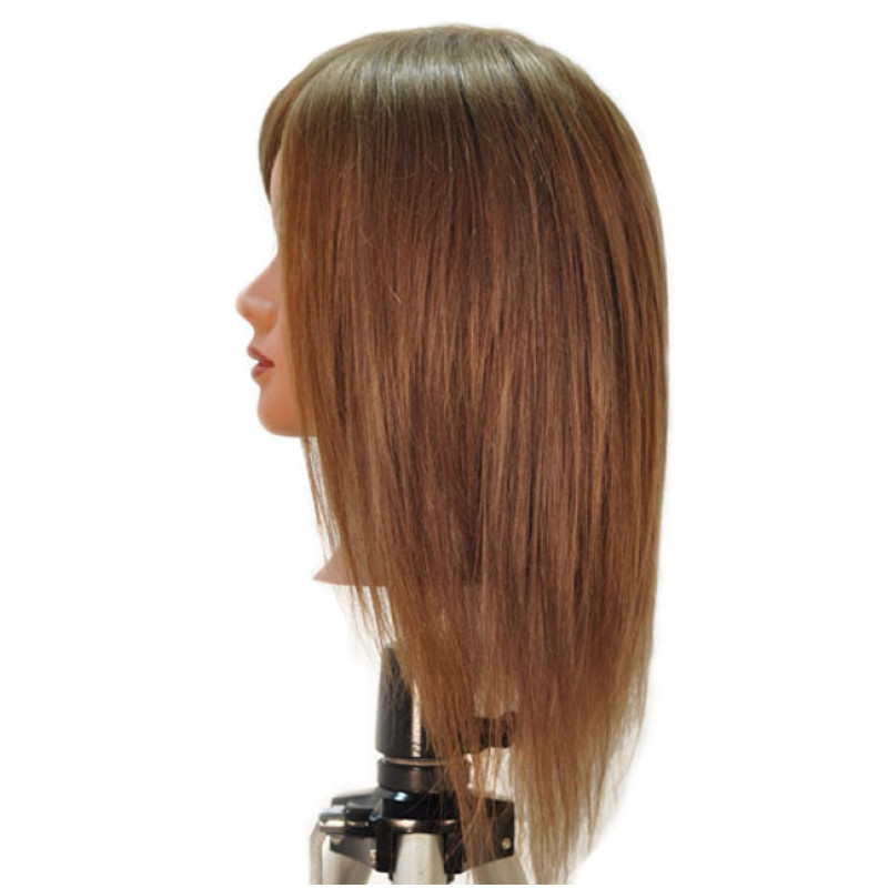 "Image 2 - Chantal 21"" Virgin 100% Human Hair Medium Brown Cosmetology Mannequin Head by HairArt at Giell.com"