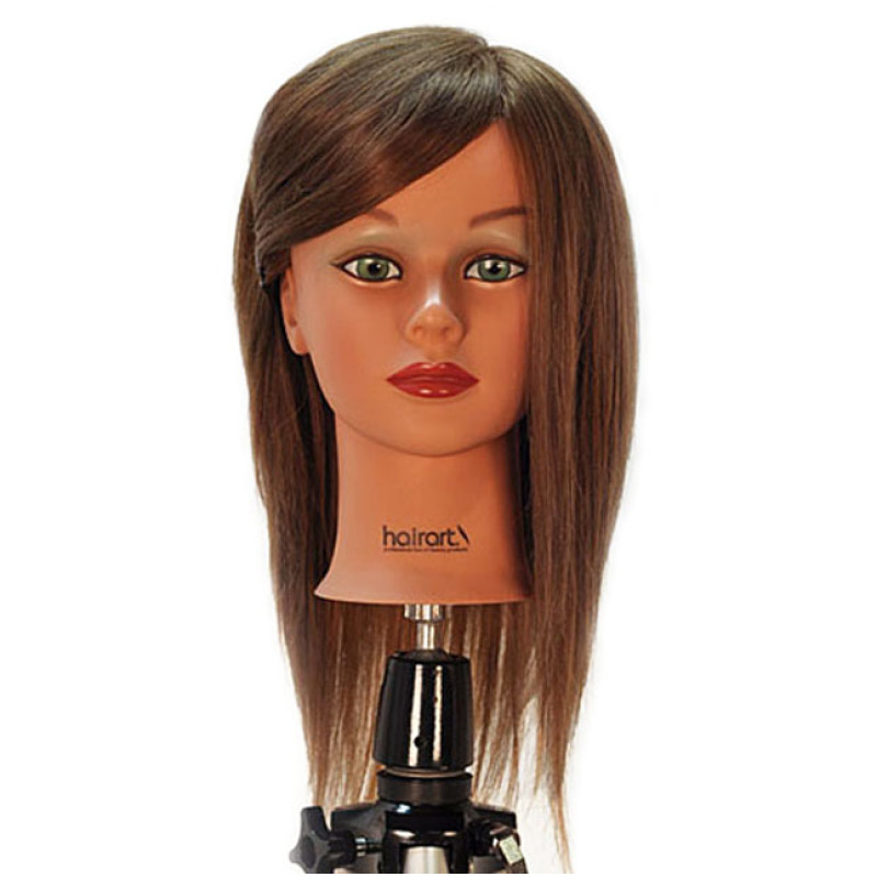 "Image 1 - Chantal 21"" Virgin 100% Human Hair Medium Brown Cosmetology Mannequin Head by HairArt at Giell.com"