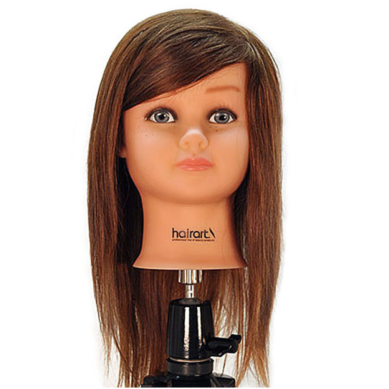 "Image 1 - Nicki 18"" Child 100% Human Hair Light Brown Cosmetology Mannequin Head by HairArt at Giell.com"