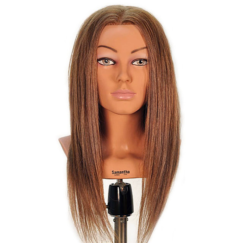 "Image 1 - Samantha 23"" Competition Dark Blonde 100% Human Hair Cosmetology Mannequin Head by Celebrity at Giell.com"