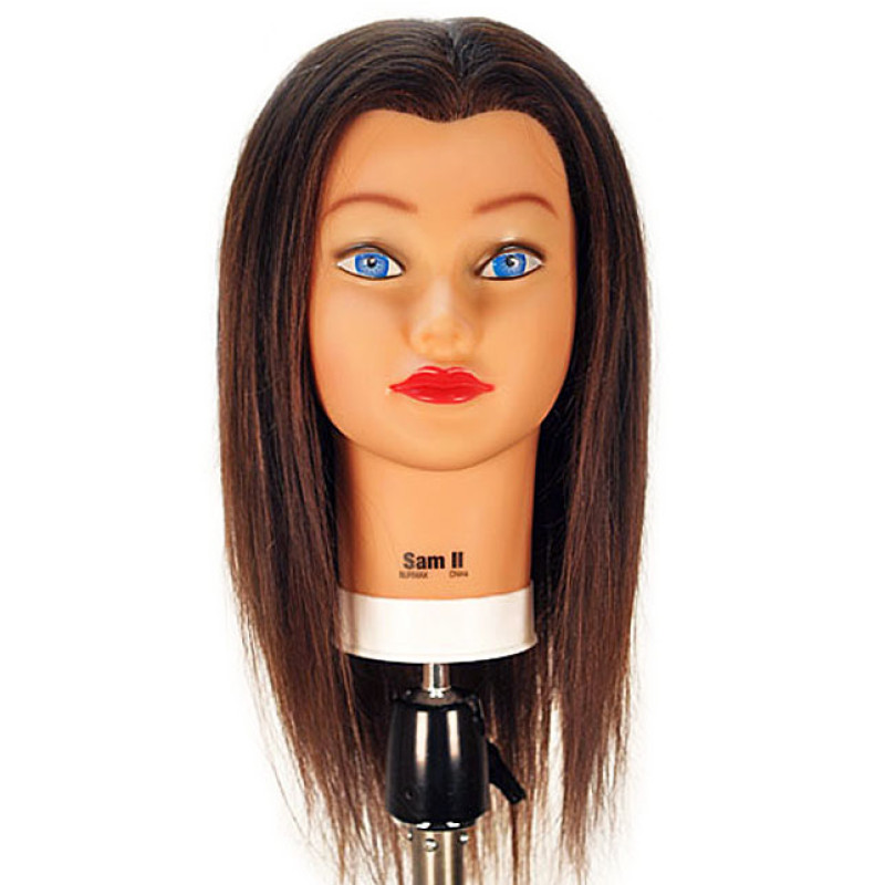 "Image 1 - Sam-II Brown 21"" 100% Human Hair Cosmetology Mannequin Head by Celebrity at Giell.com"