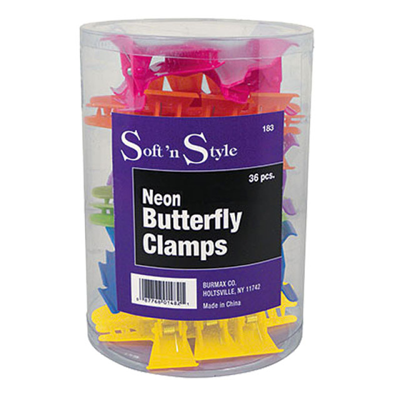 """Image 2 - 36 pcs 3 1/4"""" Butterfly Hair Clamps Assorted Neon Colors by Soft 'n Style at Giell.com"""