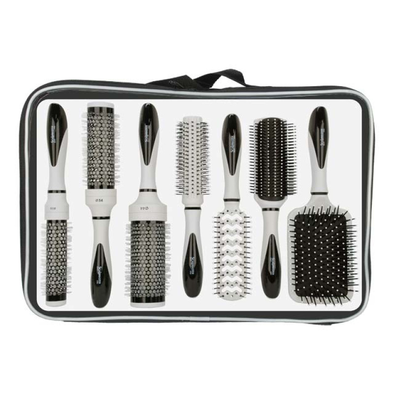 Image 1 - 7 pcs Hair Brush Collection Set in Carrying Case at Giell.com