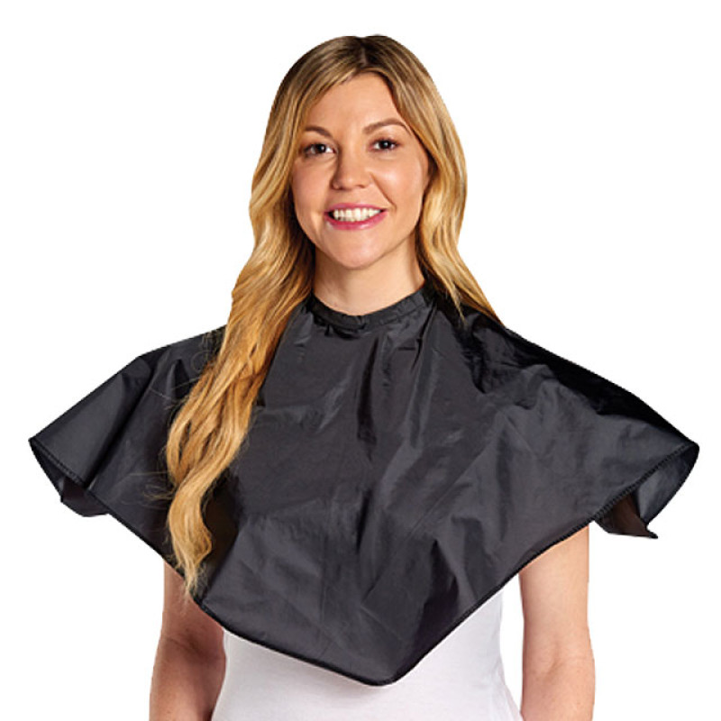 "Image 1 - 28"" X 28"" Nylon Comb-Out Cape with Velcro Neck Closure - Black"