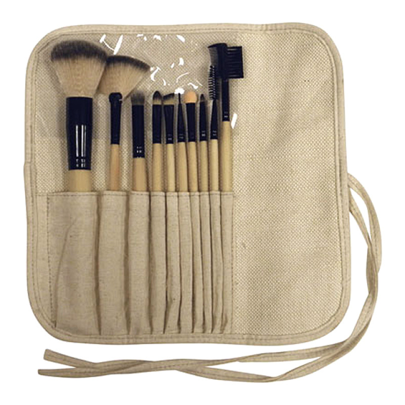 Image 2 - Professional Cosmetic Makeup Brush Set - 10 Assorted Bamboo Brushes at Giell.com