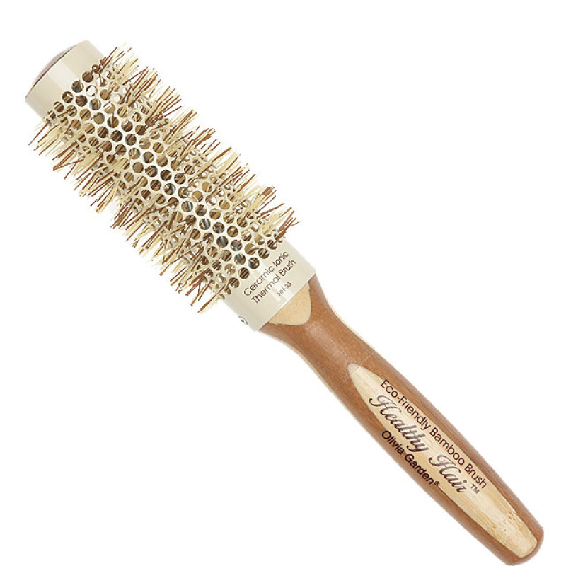"""Image 1 - 2"""" Ceramic Ionic Thermal Round Hair Brush Eco-Friendly Bamboo by Olivia Garden at Giell.com"""