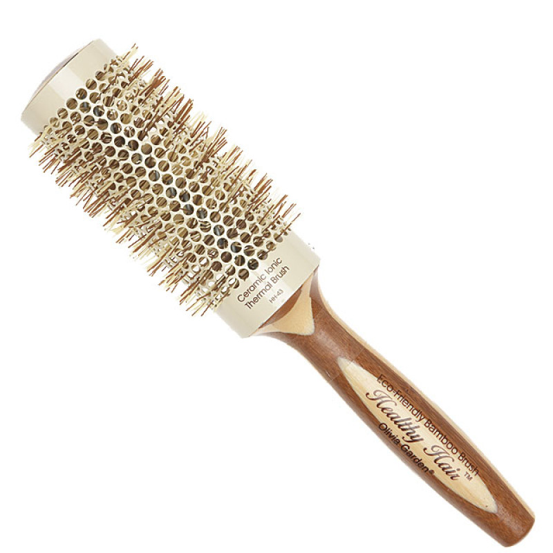 """Image 1 - 2 1/2"""" Ceramic Ionic Thermal Round Hair Brush Eco-Friendly Bamboo by Olivia Garden at Giell.com"""