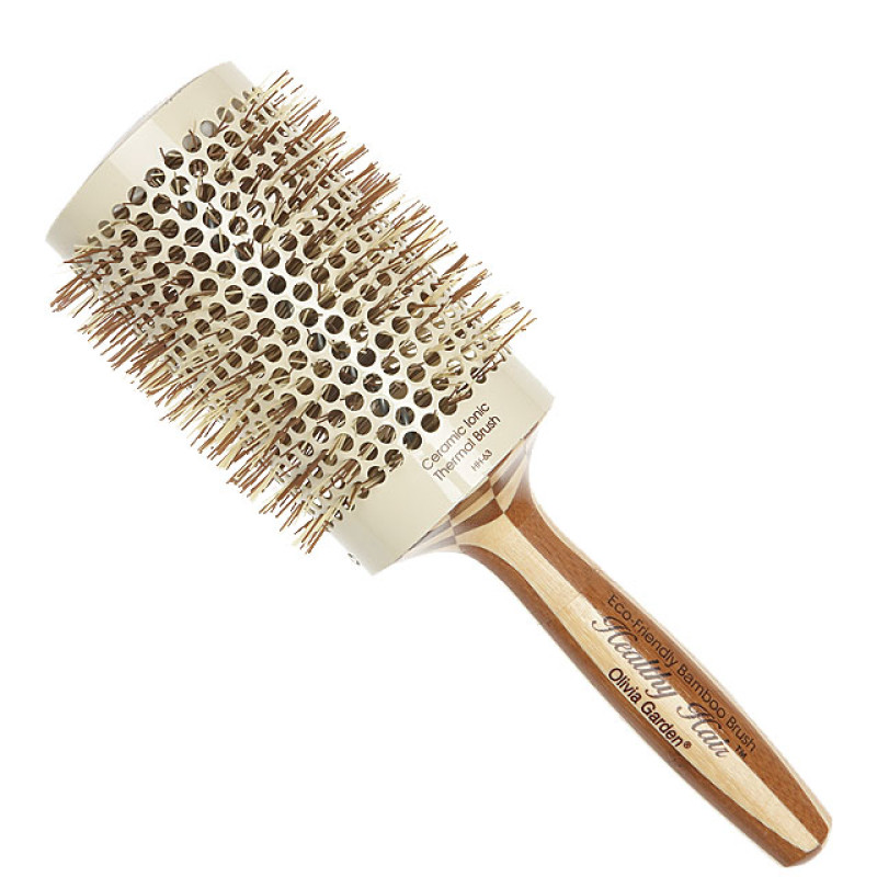 """Image 1 - 3 1/2"""" Ceramic Ionic Thermal Round Hair Brush Eco-Friendly Bamboo by Olivia Garden at Giell.com"""