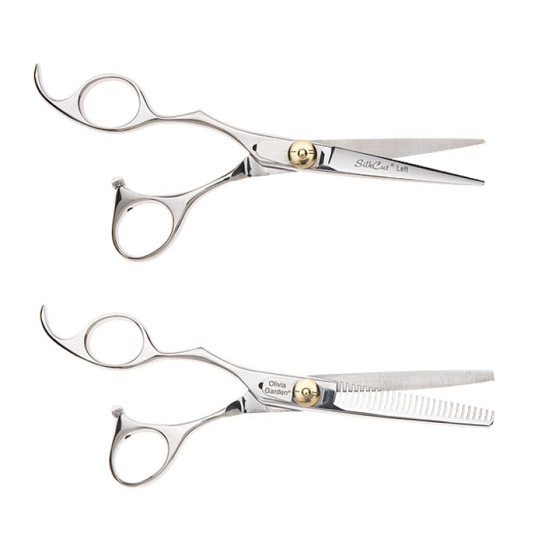 """Image 1 - Silk Cut 5 3/4"""" Left-Handed Hair Cutting Shears and 6"""" Thinners Set by Olivia Garden at Giell.com"""