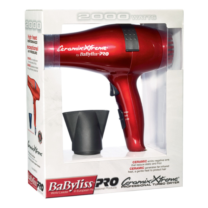 Image 2 - Red Ceramix Xtreme Hair Dryer 2000 Watts by Babyliss Pro at Giell.com