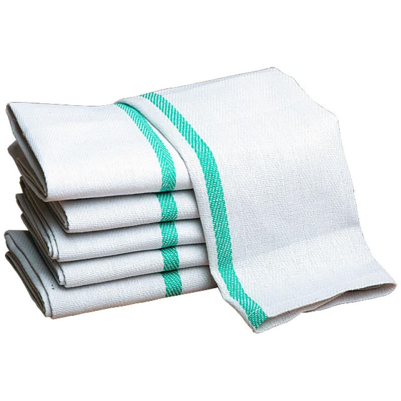 Image 1 - One Dozen (12) Barber Towels 15x26 Herringbone Green Stripe 100% Cotton