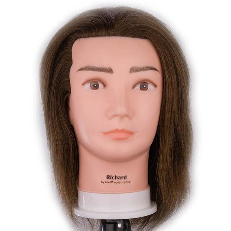 """Image 1 - Richard 17"""" Male 100% Human Hair Cosmetology Mannequin Head by Giell at Giell.com"""