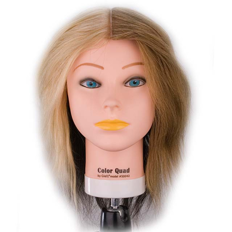 "Image 1 - Color Quad 18"" 100% Human Hair Coloring Cosmetology Mannequin Head by Giell at Giell.com"