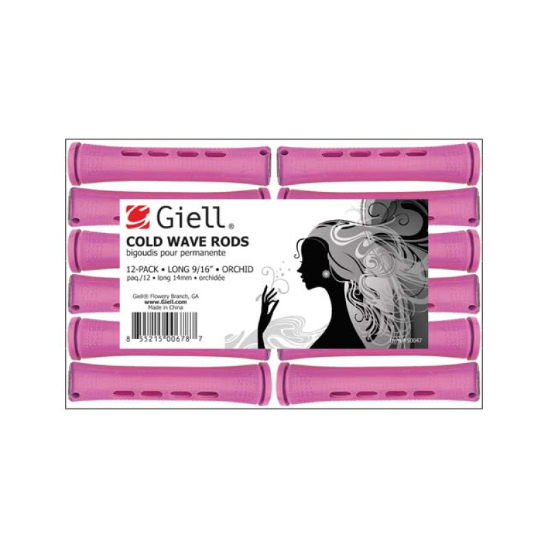 """Image 1 - 9/16"""" Orchid Long Cold Wave Perm Rods 12-Pack by Giell at Giell.com"""