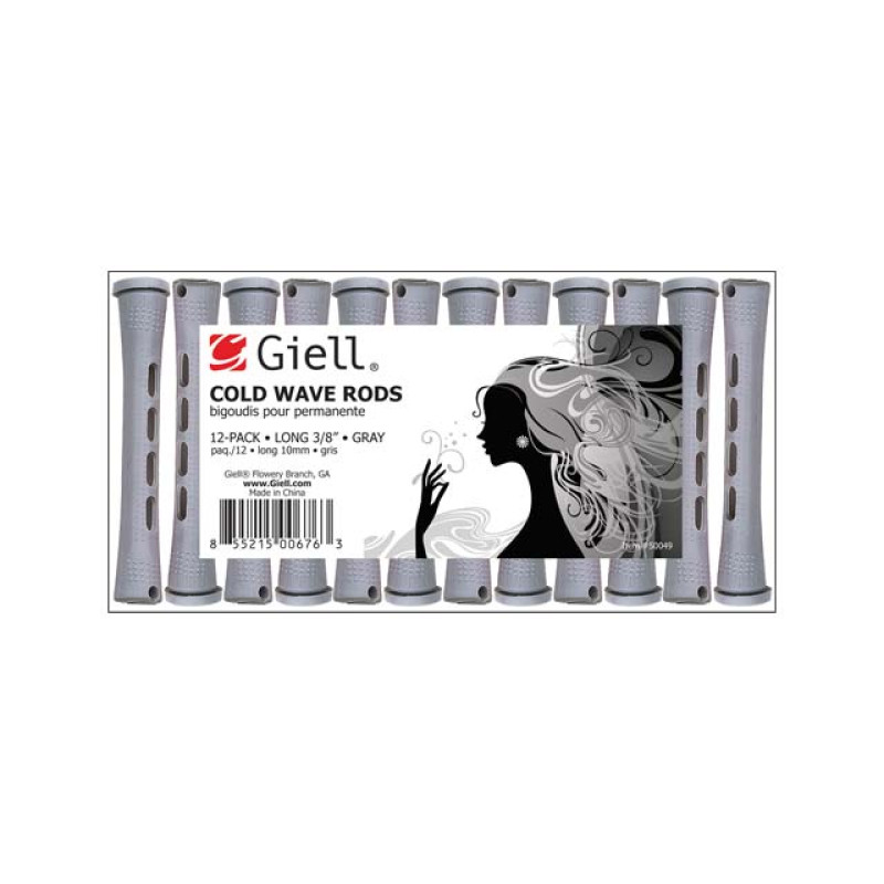 "Image 1 - 3/8"" Gray Long Cold Wave Perm Rods 12-Pack by Giell at Giell.com"