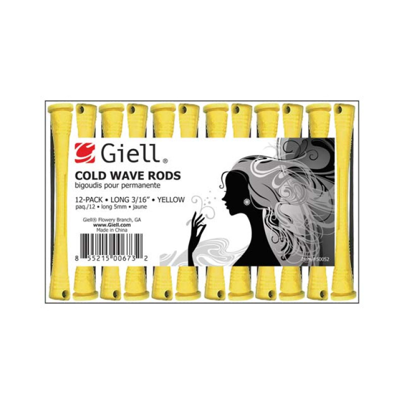 """Image 1 - 3/16"""" Yellow Long Cold Wave Perm Rods 12-Pack by Giell at Giell.com"""