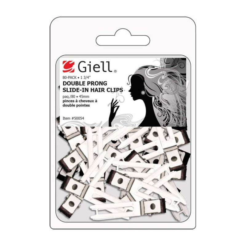 "Image 1 - 80-pk 1-3/4"" Double Prong Slide-In Metal Hair Clips by Giell at Giell.com"