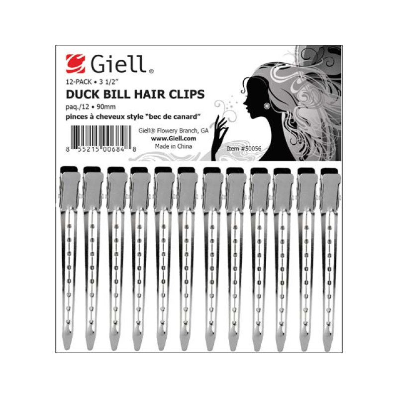 "Image 1 - 12-pk 3-1/2"" Duck Bill Metal Hair Clips by Giell at Giell.com"