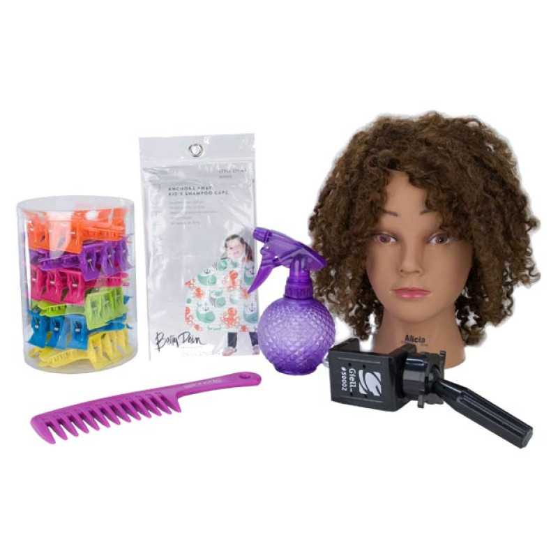 Image 1 - Child / Youth Hairdresser Play Kit with Afro Style Mannequin Doll Head at Giell.com