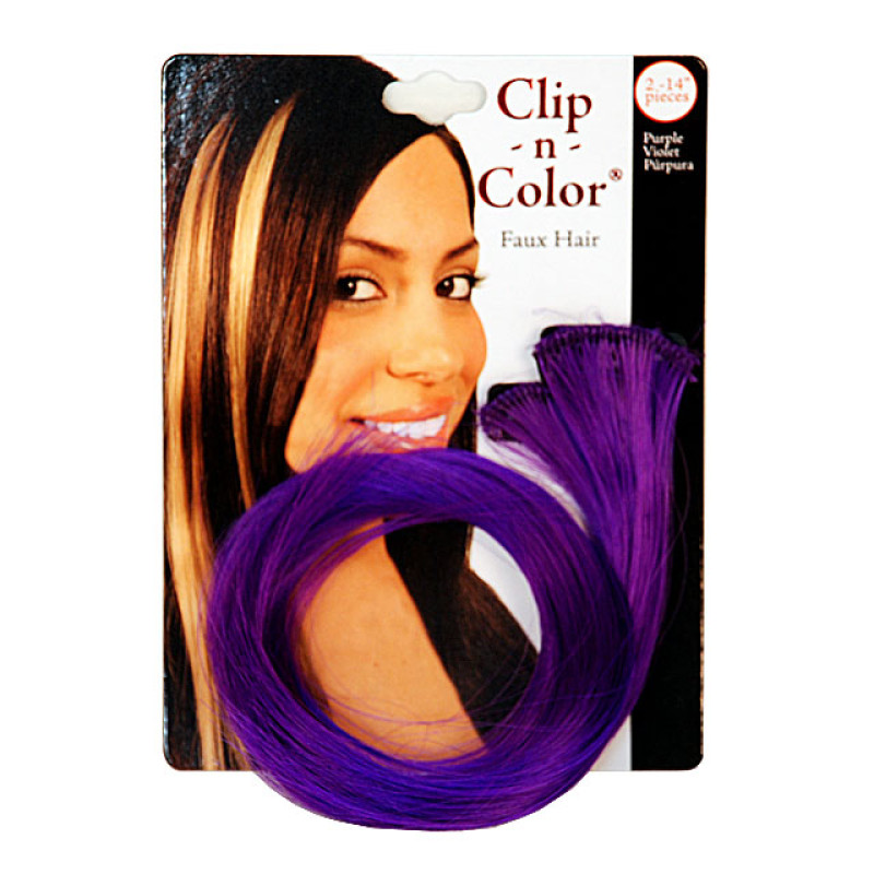 """Image 1 - Clip 'n Color 14"""" Purple Faux Hair Extension Pack of 2 by Mia at Giell.com"""